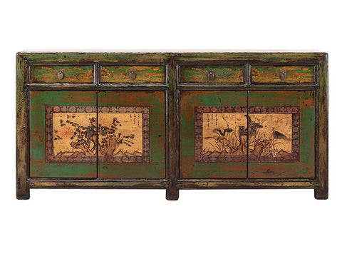 Chinese Light Green Tree Flower Long Sideboard Buffet Table Cabinet cs1294S