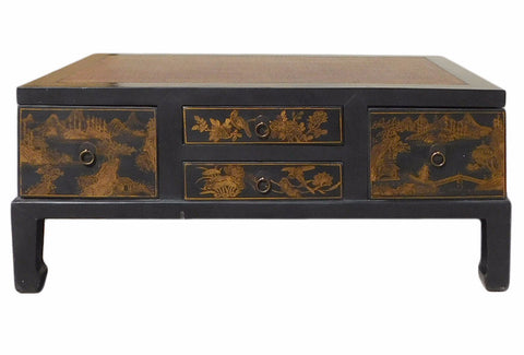 Chinese FuJian Style Golden Graphic Swing Drawer Coffee Table cs1307S