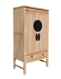Chinese Distressed Raw Wood Tall Cabinet Armorie Wardrobe cs1311S