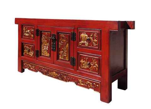 ... Chinese Carving Panel Rustic Red Low TV Console Cabinet Cs1312S ...