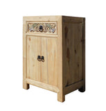 Chinese Rustic Raw Wood Side Table Cabinet cs1317S