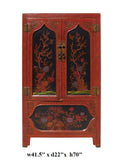 Chinese Red Black Flower Graphic Armoire Wardrobe Cabinet cs1327S
