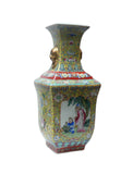 Chinese Yellow Base Canton Famille Porcelain Vase cs132S
