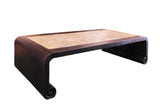 Chinese Black Scroll Legs Rectangular Marble Coffee Table cs1331S