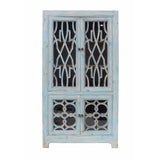 navy light blue glass display cabinet