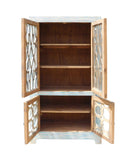 Oriental Shabby Chic Blue Glass China Bookcase Cabinet cs1335S