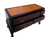 Chinese Brown Light Bamboo Top Dresser Drawer Cabinet Table cs1339S