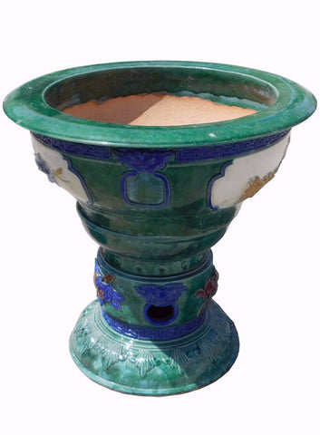 Chinese Green Clay Ceramic Round Pedestal Planter Pot