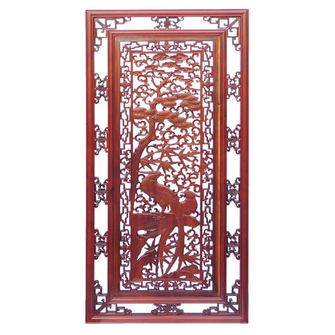 carved wood panel - birds and floral