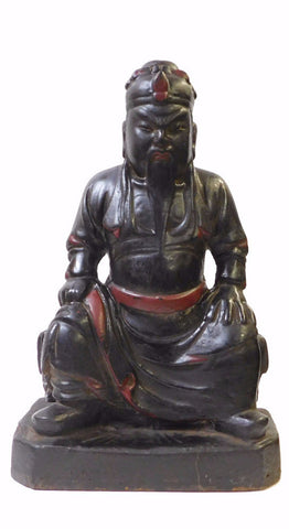 Chinese Black Lacquer Wood Sitting General Guan Figure cs1376S