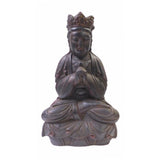sitting wood Kwan Yin statue
