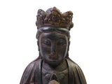 Chinese Black Lacquer Wood Sitting Kwan Yin Bodhisavatta Figure cs1377S