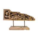Chinese Vintage Wood Carved Floral Table Top Display Accent