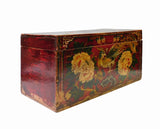 Chinese Vintage Rectangular Wood Box Red Flower Graphic cs1388-1S