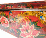 Chinese Vintage Rectangular Wood Box Red Flower Graphic cs1388-2S