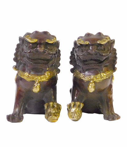 Chinese Pair Brown Bronze Golden Fengshui Foo Dog Statues cs1404S
