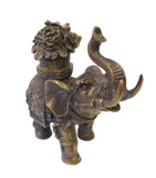 Chinese Brown Bronze Metal Trunk Up Elephant Figure cs1413S