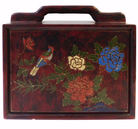 Chinese Brown Lacquer Wood Box with Color Graphic cs1421S