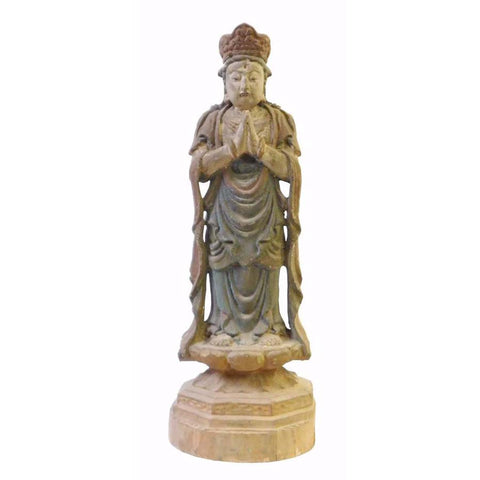 Wood standing Kwan Yin - Bodhisattva -  goddess of mercy - goddess of compassion