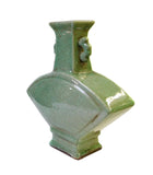 Chinese Ceramic Crackle Pattern Fan Shape Celadon Green Vase cs1424S