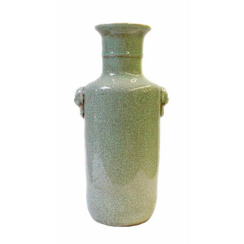 Ceramic Crackle Pattern Column Shape Celadon Green Vase