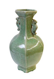 celadon crackle pattern green vase