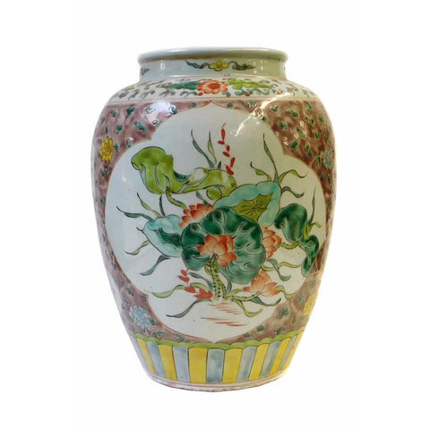 Chinese Color Porcelain Flower Bird Scenery Pot Jar