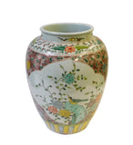 Chinese Color Porcelain Flower Bird Scenery Pot Jar cs1429S