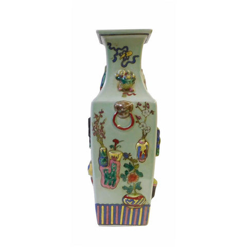 Chinese Light Green Dimensional Color Graphic Square Porcelain Vase