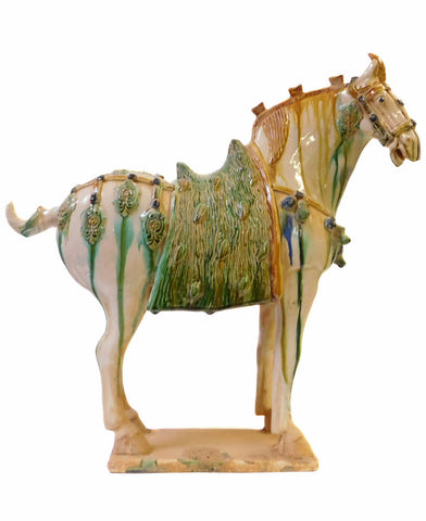 Chinese Off white Green Pottery Clay Ancient Style Horse Figure cs1438S