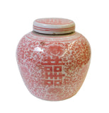 Chinese Red Pink White Double Happiness Ginger Jar cs1446S