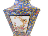 Chinese Navy Blue Rich Multi-Color Print Graphic Porcelain Vase cs1456S