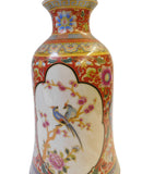 Chinese Round Red Rich Multi-Color Print Graphic Porcelain Vase cs1478S