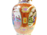 Chinese Red Multi-Color People Scenery Round Porcelain Vase cs1484S