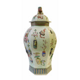 Chinese Light Green Dimensional Color Graphic Hexagon Porcelain Jar