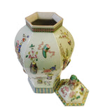 Chinese Light Green Dimensional Color Graphic Hexagon Porcelain Jar cs1486S