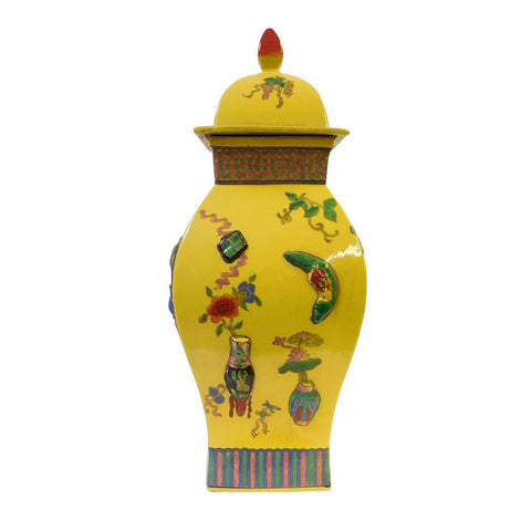 Chinese Yellow Dimensional Color Graphic Square Porcelain Jar
