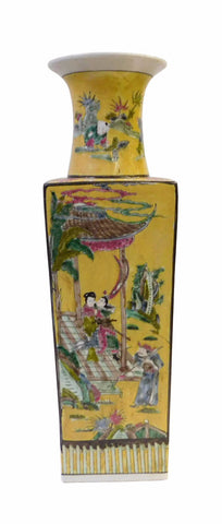 Chinese Yellow Square People Scenery Porcelain Vase