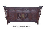 Chinese Brown Floral Motif Long Sideboard Console Table Cabinet cs1497S