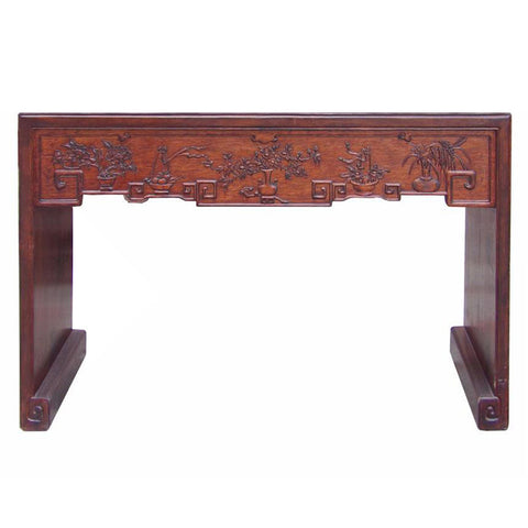 carved u shape entry way table