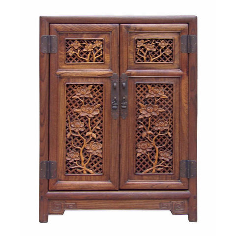wood carved flowers mid size cabinet