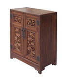 Chinese Relief Panel Floral Carving Side Table Cabinet cs1513S