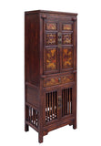 Chinese Brown Narrow Wood Carving Storage Hutch Cabinet cs1515S