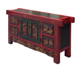 Chinese Carving Panel Rustic Red Low TV Console Cabinet cs1517S