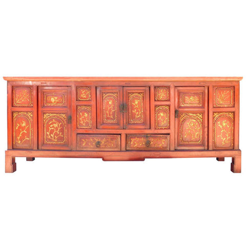 red carved gold flower low cabinet