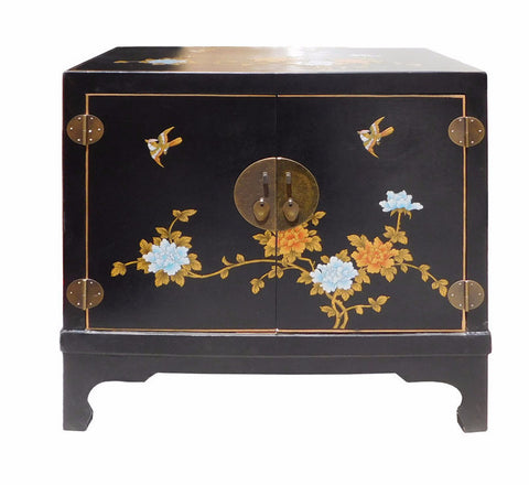 Chinese Oriental Black Vinyl Flower Side Table Cabinet cs1540S