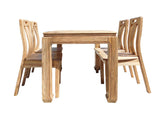 Oriental Light Wood Dining Table 4 Chairs Set cs1555S