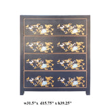 Chinese Black Vinyl 4 Drawers Flower Bird Dresser Cabinet cs1557S
