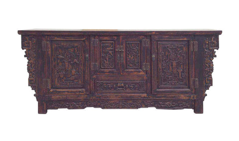 Chinese Distressed Brown Floral Motif Sideboard Console Table Cabinet cs1563S