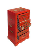 Chinese Red Vinyl Flower Butterflies Small Drawer Cabinet cs1571S